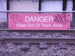 SEPTA R8 - Upsal Station - Danger Sign Between Tracks