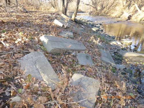 Concrete debris upstream of Whitaker Ave Bridge