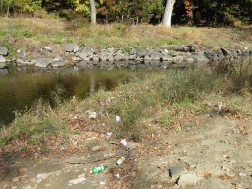 Philadelphia Water Deprtment stream restoration  and trash downstream of Whitaker Ave Bridge.