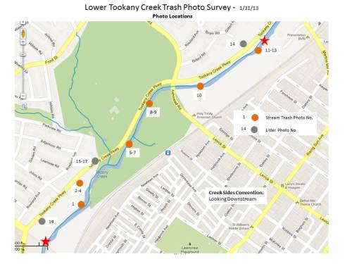 Lower Tookany Creek Trash Tour - Photo Location Map