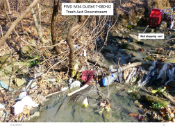 Trash & Sewage Below PWD Outfall T-080-02