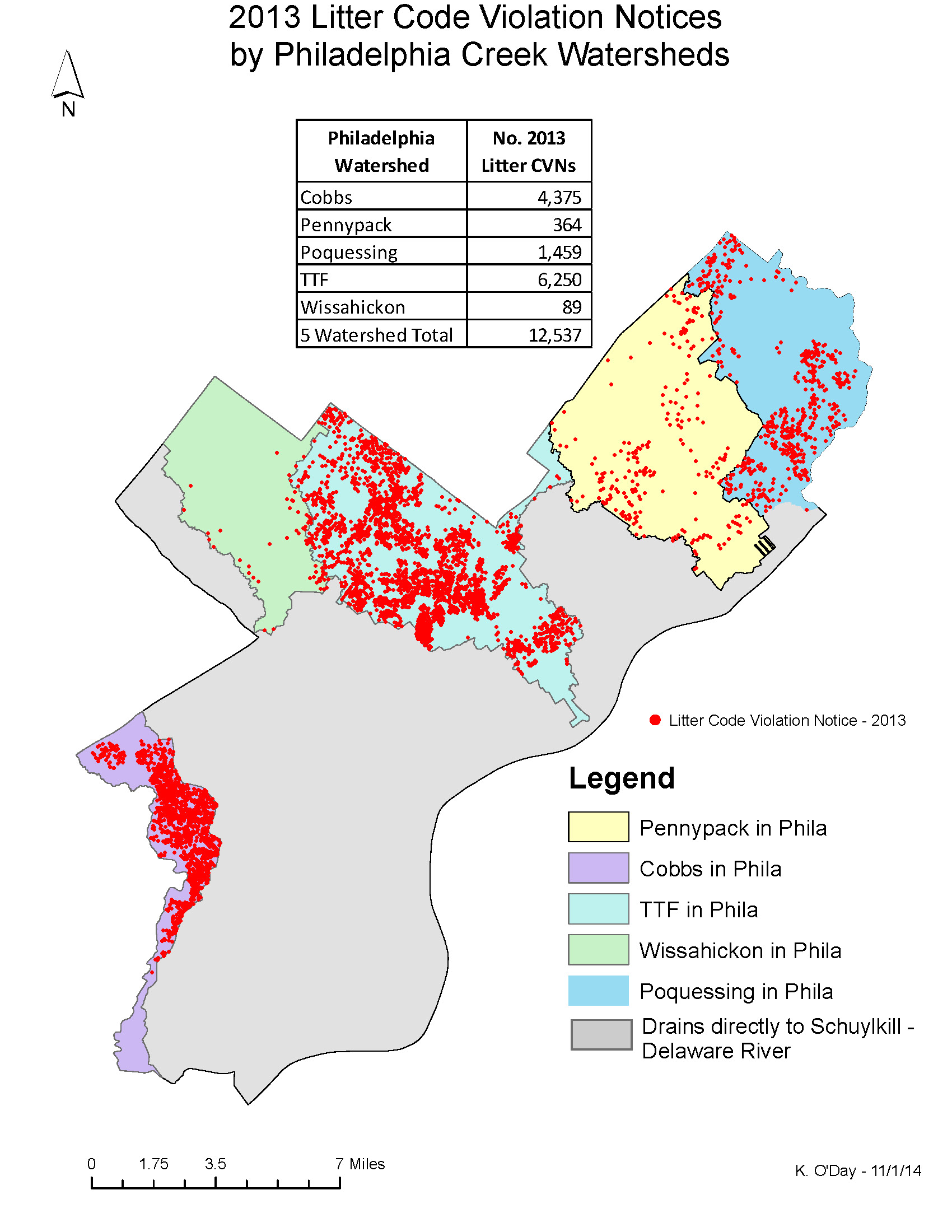 Map of Phila. Litter CVNs by Watershed | Environmental Challenges